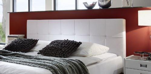 SAM Polsterbett 160×200 cm Zarah in weiß, pflegeleichtes Design-Bett mit Kunstlederbezug, abgestepptes Kopfteil