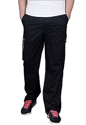 Men Plus Size Cargo Pants Overalls New Men's Baggy Covert Pockets Full Trousers Black XL