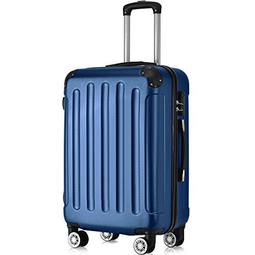 Flieks® ReiseKoffer Hartschale Trolley Koffer Gepäck-Sets mit 4 Doppel-Rollen, Set-XL-L-M (Dunkelblau, XL(Großer Koffer))