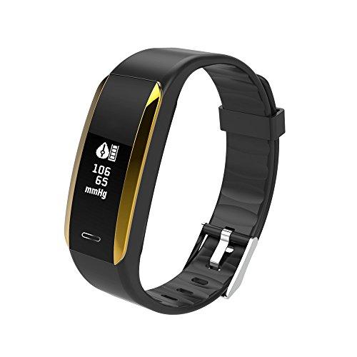 Happy-day Damen Armbanduhr, wasserdicht, Fitness-Tracker, Farbdisplay, Aktivitätstracker mit Herzfrequenz, Blutdruckmessgerät, tragbares Smart-Armband Schrittzähler mit Schlaf-Monitor S Schwarz