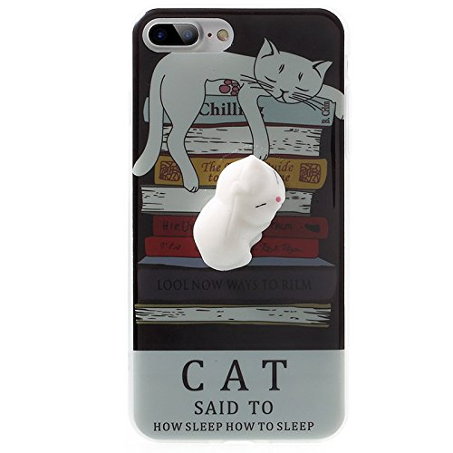 Finger Decompression phone case ,3D Soft Silicone Pinch Squishy Cat TPU Protective Back Cartoon Animal Apple phone Case for iphone 7Plus (5.5-inch) (Cat's partner) Lazy Cat