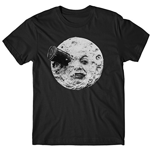 Herren-T-Shirt A trip to the Moon - 100% baumwolle LaMAGLIERIA Schwarz