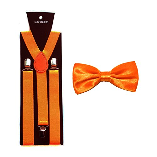 Garçons/Enfants Satin Nœud Papillon avec assorti Bretelles/bretelles Orange