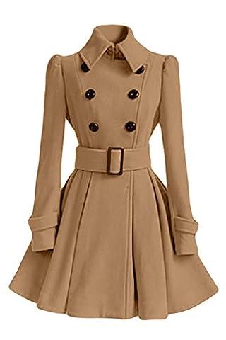 NiSeng Damen Wintermantel Einfarbig Elegante Übergangs Trenchcoat Mantel Jacke mit