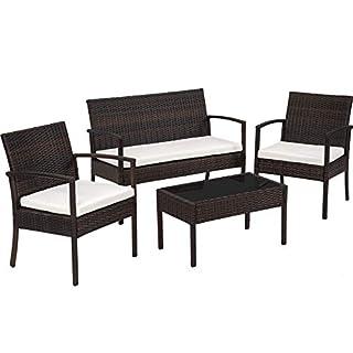 TecTake Salon de jardin Table de jardin en resine tressee chaises salon d'exterieur poly rotin - diverses couleurs au choix - (Noir-Marron)