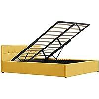 Cherry Tree Furniture CORONA Fabric Ottoman Storage Bed Frame Tufted Headboard (Yellow, 4FT6 Double)