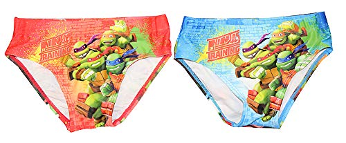 Teenage Mutant Ninja Turtles Donatello, Leonardo, Raphael und Michelangelo Badehosen für Jungs 2er Set Blau und Rot (128) (Teenage Mutant Leonardo Turtle Ninja)