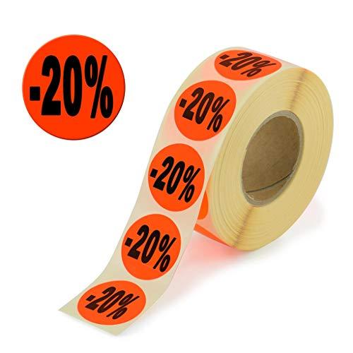 2.000 Aktionsetiketten - 20% rund leuchtrot auf Rolle 32 mm - Sonderpreis, reduziert Aufkleber, selbstklebend, permanente Preisschilder [H-20]