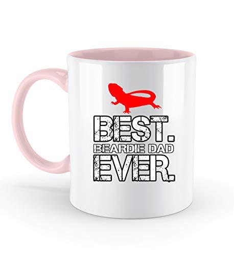 Best Beardie Dad Ever - rote Eidechse - Zweifarbige Tasse -330ml-Puder Rosa