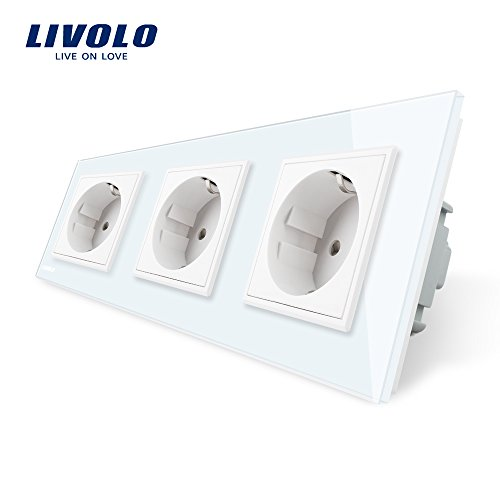 3-panel-technik (LIVOLO Weiss Steckdose Schuko Schutzkontakt mit Kindersicherung 3 Fach Panel aus Kristallglas EU Standard Wandsteckdose,VL-C7C3EU-11-A)