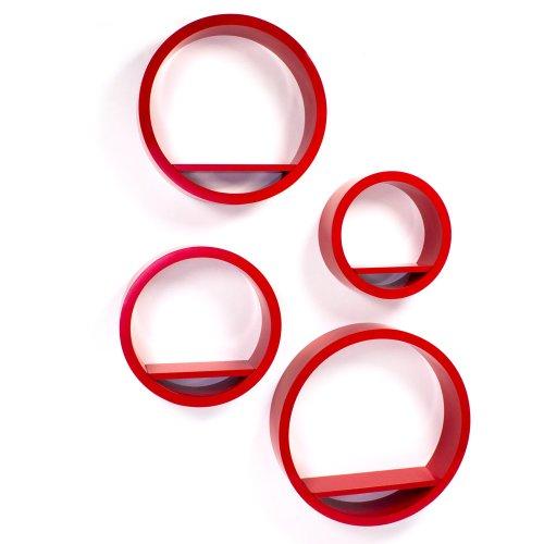 Homestyle4u Cube Wandregal Regal Bücherregal Hängeregal 4 er Set Retro Design Rund Rot
