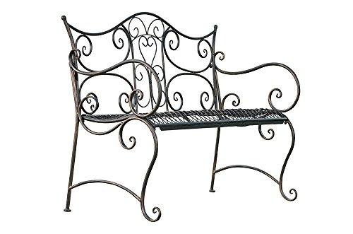 formschöne Gartenbank im Landhausstil aus Eisen / Metall Sitzbank mit Ornamenten bronzefarben 2-3er Parkbank Antikes Design