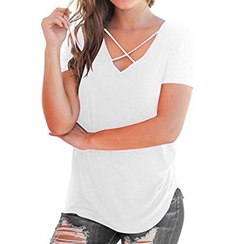 UFACE Damen V Ausschnitt Kurzarm T Shirt mit UnregelmäßIgem Saum Frauen Casual Solide Criss Cross Vorne Tops (2XL, Weiß)
