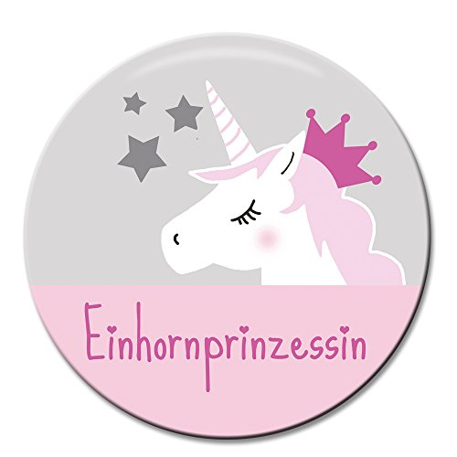 Polarkind Button Pin Karneval Anstecker Einhorn Prinzessin 38mm handmade pink