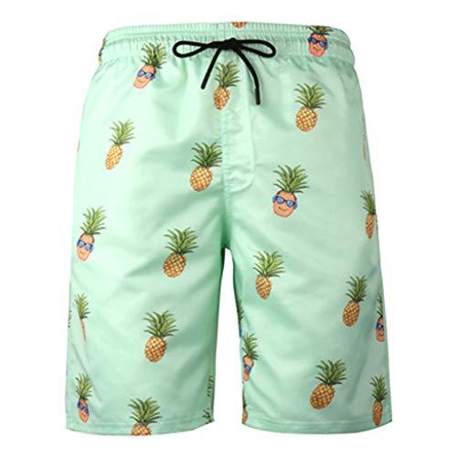 QIMANZI Herren Sommer Strand Schwimmen Badehose Surf Board Shorts Badebekleidung Slim Pants(Minzgrün,XL) Solid Stretch Shell