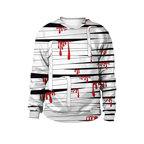 Tragende Strickjacke der Paare -3D Blut und Bandage Print Halloween Langarm Hoodie Pullover Top- Sweatshirt Damen Sweatjacke Langarmshirts-Tunika Damenmode-Langarm Blusen-Kapuzen Bluse(Schwarz,XL)