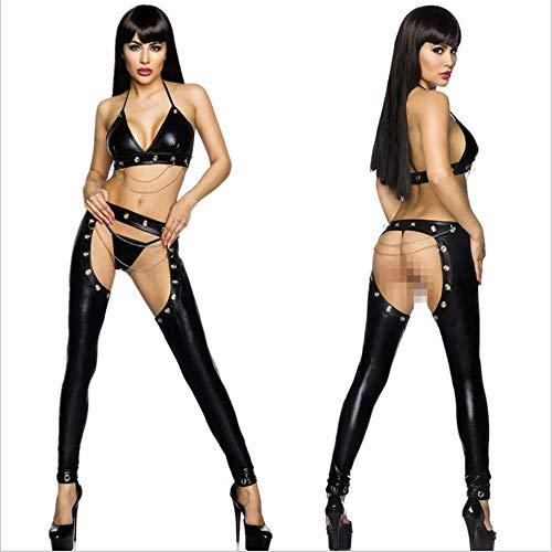 PHUJK - Damen Nachtclub Sexy Kostüme Schwarzes Lackleder Sexy Dessous, DJ Sängerin Set Bar Performance Bühnenkostüm,Black