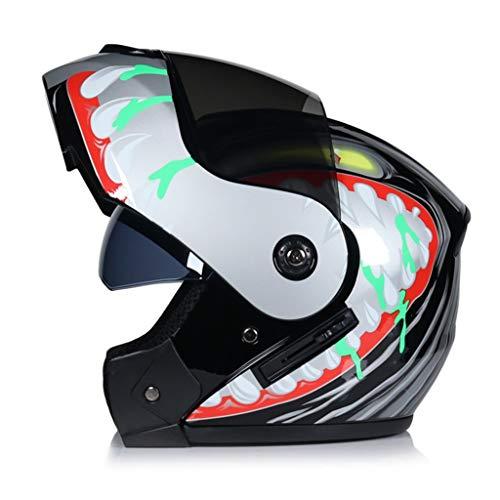 Casco moto a doppia visiera Adulto Flip Up Casco moto omologato CET Protezione UV anti-appannamento Cappucci di sicurezza per motocross per tutte le stagio