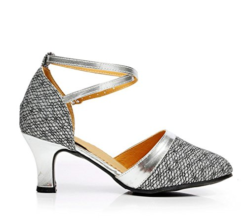 Xpy & Dgx Gris Danza Moderna De Salón De Baile Zapatos De Fondo Suave Tacón Alto Zapatos De Baile Latino Mujer Adulta, 8 215mm