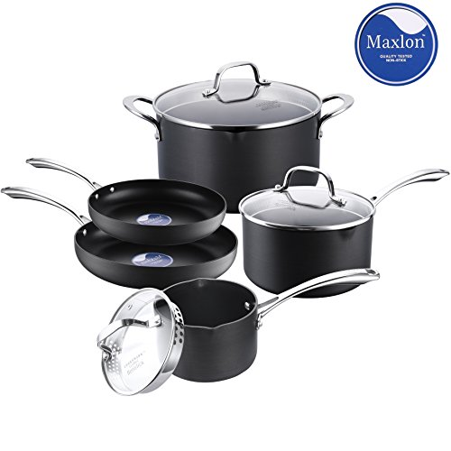 Classic Nonstick Pots and Pans Set, Cooksmark Hard-Anodized Aluminum Scratch Resistant Dishwasher Safe Oven Safe PFOA Free Cookware Set With glass lids and straining cover, 8-PCS Black