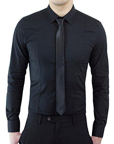 Camicia uomo casual nero slim fit aderente sfiancata cotone elasticizzato (xs)
