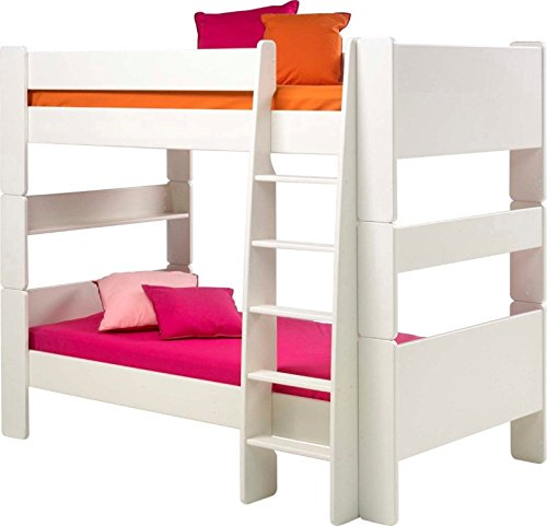 Steens For Kids Kinderbett, Etagenbett inkl. Lattenrost und Absturzsicherung, Liegefläche 90 x 200 cm, MDF, weiß
