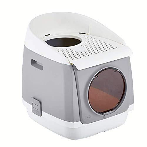 WMM-Pet toilet Pet Litterbox Indoor Outdoor-Katzenklo - mit extra großem Einstieg, wasserdichte Kapuze, geeignet für Katzen/kleine Hunde/Kaninchen usw. (Farbe : Gray) (Große Kapuzen Katzenklo)