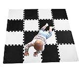 MQIAOHAM Puzzlespielmatte 16 Foam Matte. Spielmatte Schaumstoff Verriegelung Puzzle Kinderteppich. Jede Matte hat eine Größe von 30x30cm und ist 1 cm dick ( weiß schwarz) 101104Z16