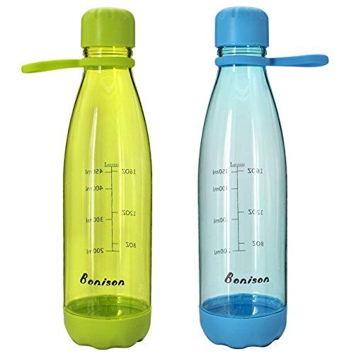 Bonison Protein Shaker, BPA-frei, Mischbecher, 57 ml, auslaufsicher und umweltfreundlich, mit Cola-Form, Grün und Blau, 2 Stück