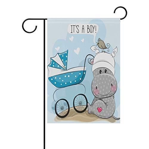 NOAON Garten Flagge Hof 12 x 18 in Happy Birthday doppelseitige dekorative Es ist EIN Junge mit Kinderwagen und Nilpferd New Born Child Party Geburtstag Banner Beste Geburtstagsgeschenk -
