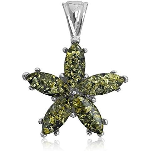 Verde Ámbar Plata Esterlina Estrella de Mar Colgante