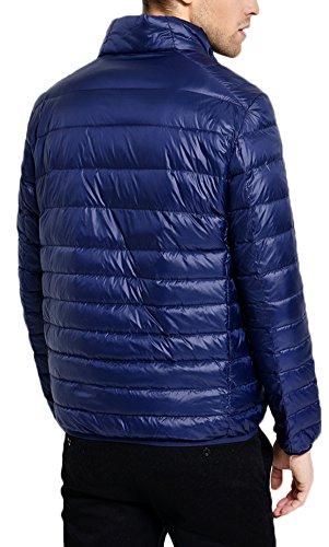 Mochoose Doudoune Ultra Légère Veste Manteau Parka Blouson Zippée Manches Longues Hiver pour Homme Bleu Marine