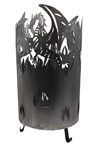 *WIDA Feuertonne Feuersäule Feuerkorb Motiv Drache Ø 38 x Höhe 58 cm*