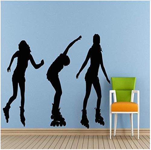 Outdoor lustige Sport Mädchen Rollschuhe Skaten Wandtattoos Dekoration Tapete Mädchen Rollschuhe 42x74cm