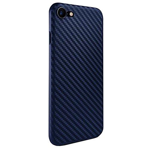 SUNAVY iPhone 7 Carbon-Faser Textur Hülle + Vollständige Abdeckung Schutzfolie, 360-Grad Anti-stoß Anti-Kratzer Ultra-Dünn Ultra-Leichte Schutzhülle für Apple7,4.7zoll,Schwarz