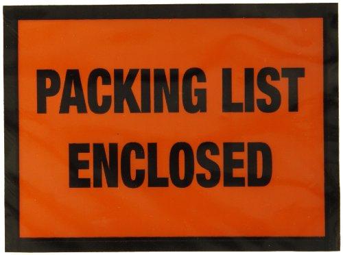 Nifty Produkte ppe5bl Verpackung Liste Umschlag,Liste geschlossen, mit 5–1/5,1cm Länge x 4–1/5,1cm Breite, orange Gesicht (1000Stück)