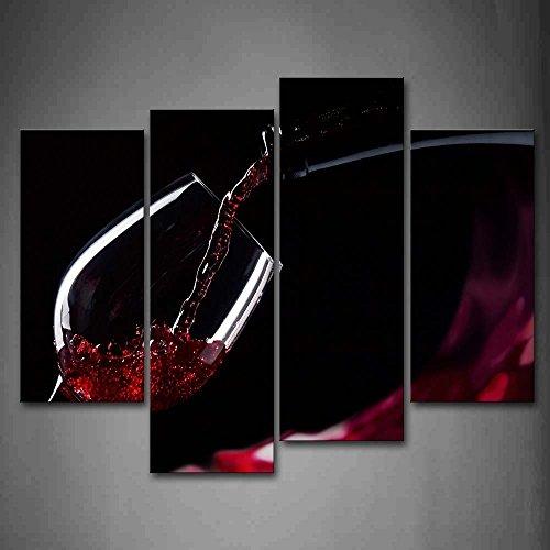 Rosso Vino In Il Bicchiere Pittura di arte della parete La stampa su tela di canapa Cibo Quadri d'illustrazione per l'ufficio domestico Decorazione moderna