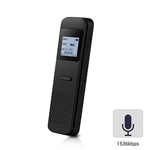 8GB Metall Digitale Diktiergeräte mit mit integriertem Lautsprecher, sprachgesteuerter, echtzeitfähiger Audio Recorder für Vorlesungen Meetings & Interviews Recorder, von AGPTEK RP33, Schwarz