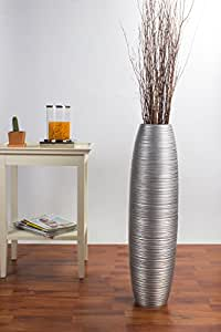 Grande Vaso da Terra 75 cm, Legno di Mango, Argento