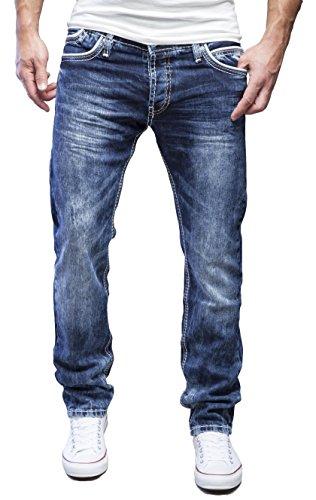 MERISH Homme Pantalons Denim Jeans Regular Fit coup d'oeil détruit à la mode Modell J728b 9653bBleu foncé