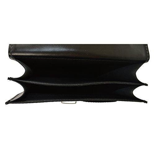 CTM Business-Tasche, Aktentasche des Mannes mit Schultergurt, echtes Leder Made in Italy D7012 - 27x32x10 Cm Schwarz