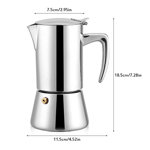 41lU1n5BAlL. SS500  - OKBY Espresso Coffee Pot- 200ml Stainless Steel Moka Maker Modern Style Elegant and Stylish Sleek Household Pot For Gas…
