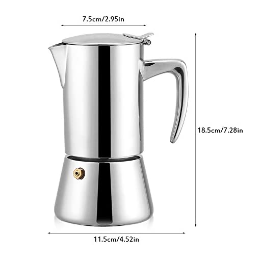 Fdit 200ML Classic Stainless Steel Moka Pot Espresso Coffee Maker – Suitable for Gas, Electric And Ceramic Stovetops