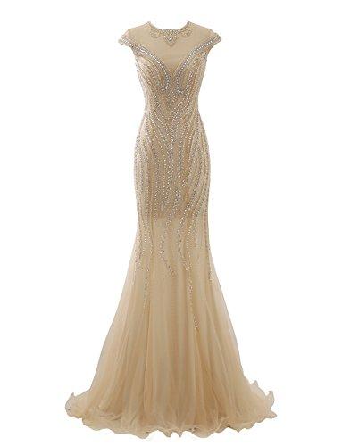 Izanoy Damen Ballkleid Lange Tüll formalen Abend Luxus Kristall Champagner DE34 (Trompete Bodenlangen Kleid)