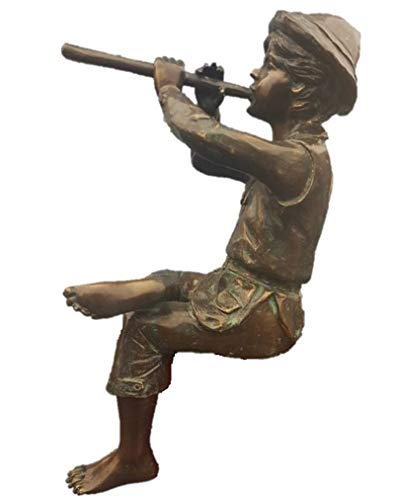 Steinfiguren Horn Wasserspeier Flötenspieler Junge, Skulptur aus Bronze