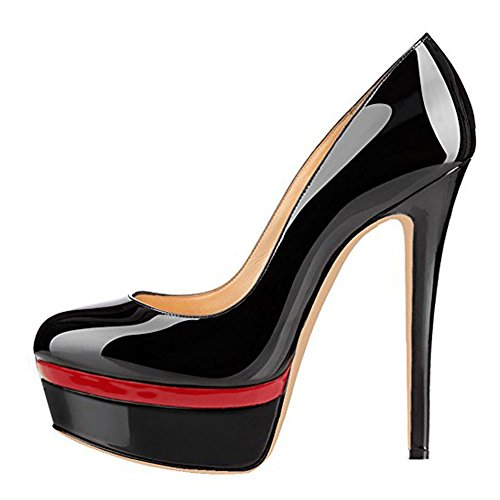 Damenschuhe Pumps High-Heels Stiletto mit Plateau Rutsch Hochzeit Schwarz-Rot EU44 Sexy Stiletto High Heel Pumps