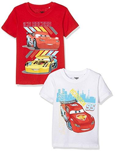 TV Mania Jungen T-shirt Disney CARS 2er Pack, Mehrfarbig (White + Racing Red White + Racing Red), 128 (Herstellergröße: 122/128)