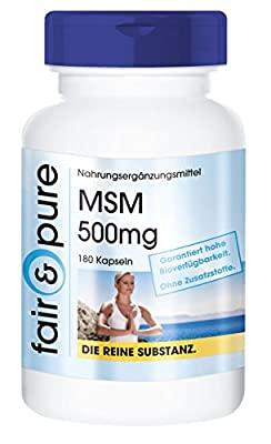 MSM 500mg Methylsulfonylmethane Sulfur - In Pure Form - No Additives or Excipients - 180 Vegetarian Capsules by fair & pure