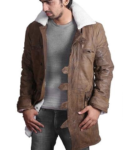 BANE Coat 'Tom Hardy - Dark Knight Rises' Vintage Distressed Look Leather Jacket - Large