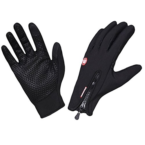 ILOVEDIY Thermo Handschuhe Winterhandschuhe Herren Fahrrad Wasserdicht Touch Screen Handschuhe Touchscreen Winddicht (Schwarz, L)